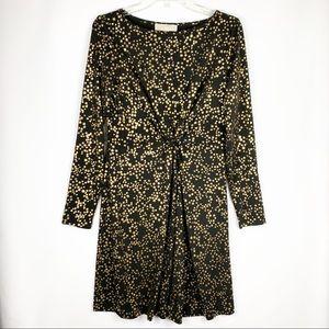 Michael Michael Kors Black and Metallic Gold Dress
